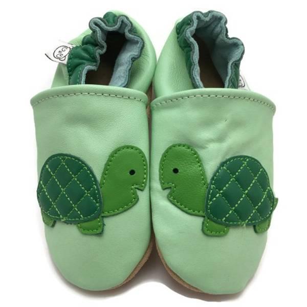 Bilde av Grønne skinntøfler med skilpadde fra Panda Feet